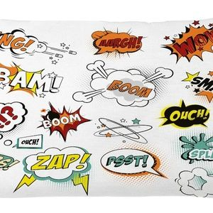 Pillow Case Retro Comics Print Cover No Insert